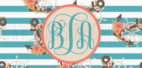 Nautical Floral Anchor Preppy License Plate Monogram Sublimation Transfers