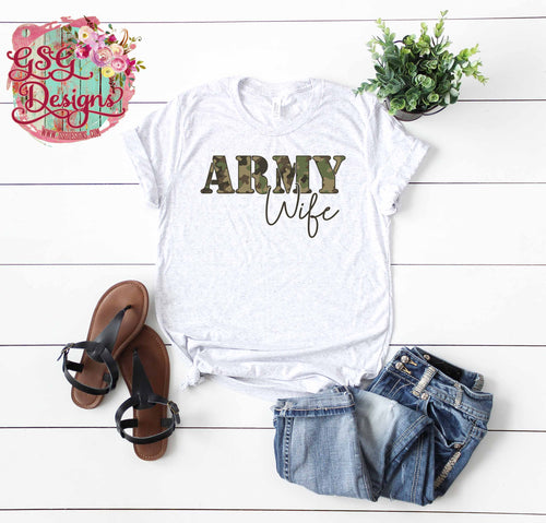Army Wife Camouflage Screen Print Transfers RTS