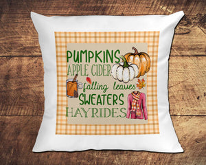 Autumn Collage Pumpkins, Falling Leaves, Sweaters, Apple Cider with plaid border Sublimation Design File