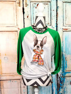 Autumn Frenchie Boy just scarf,  French Bull Dog Mom Sublimation Design File