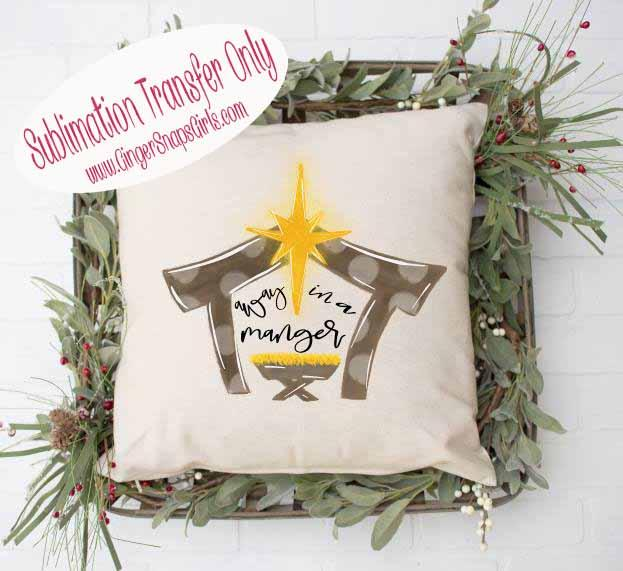 Away in a Manger Christmas Sublimation Transfers