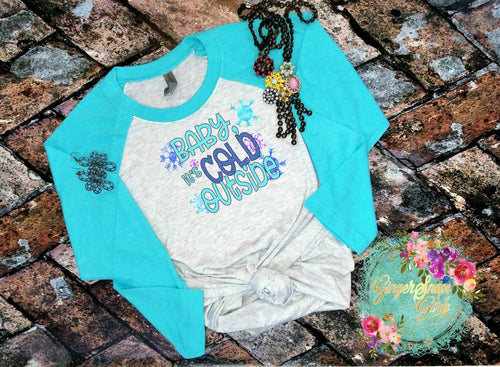 Baby It's Cold Outside Blue Christmas and Winter Sublimation Transfers