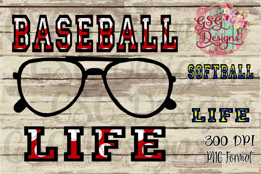Baseball or Softball Life Photo sunglasses Sublimation Transfers