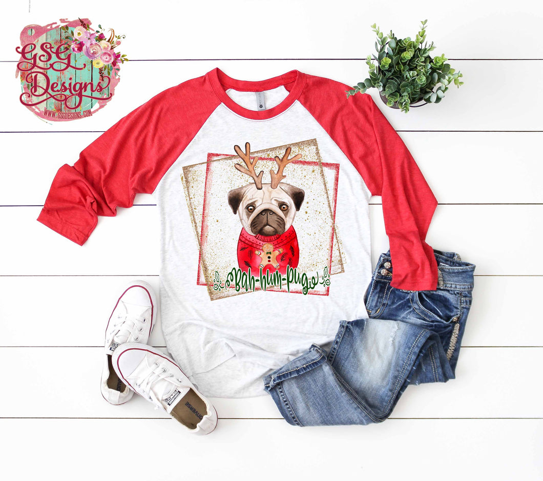 Bah Hum- Pug Sublimation Transfers