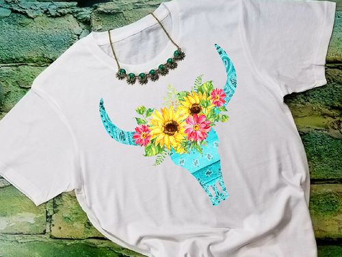 Bandanna Blue Bull Skull with Sunflowers Sublimation Transfers