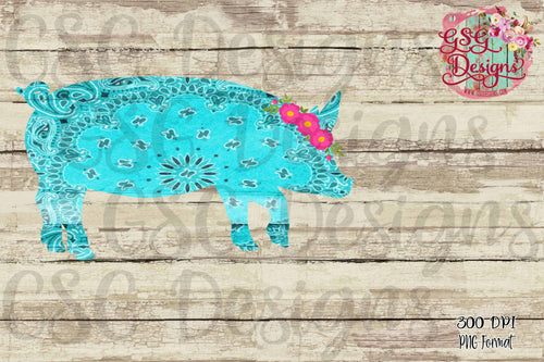 Bandanna Pig with Flowers Sublimation Transfers