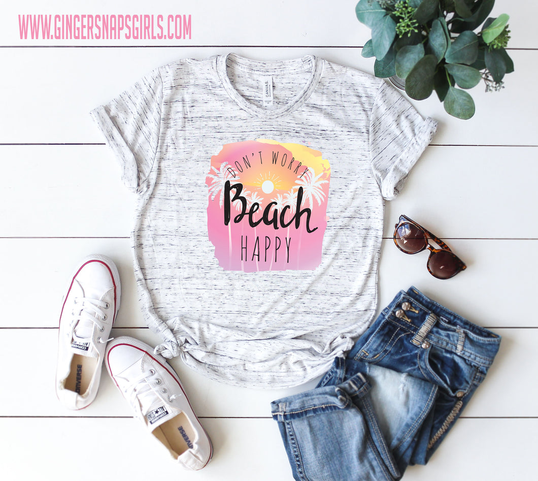 Don't Worry Beach Happy Watercolor Digital Design File PNG