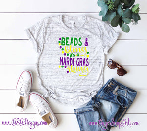 Beads and Bling It's a Mardi Gras Thing Sublimation and Printable Digital Design File, PNG