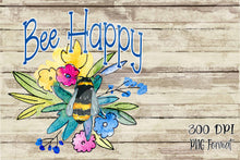 Load image into Gallery viewer, Bee Happy Floral Digital Design File PNG Set including Free Car Coaster design