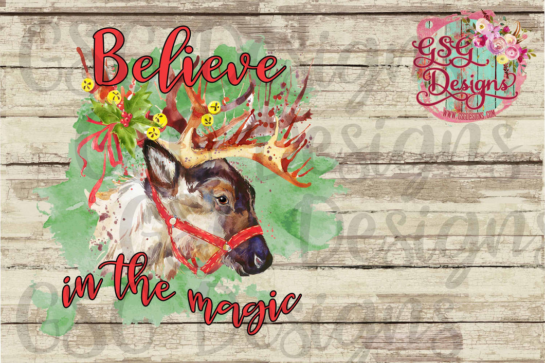 Believe in the Magic Reindeer Christmas Sublimation Transfers