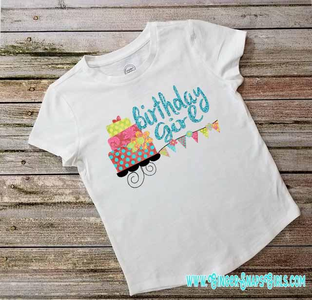 Birthday Girl Bright Glitter Cake and Polka Dots Sublimation Design File