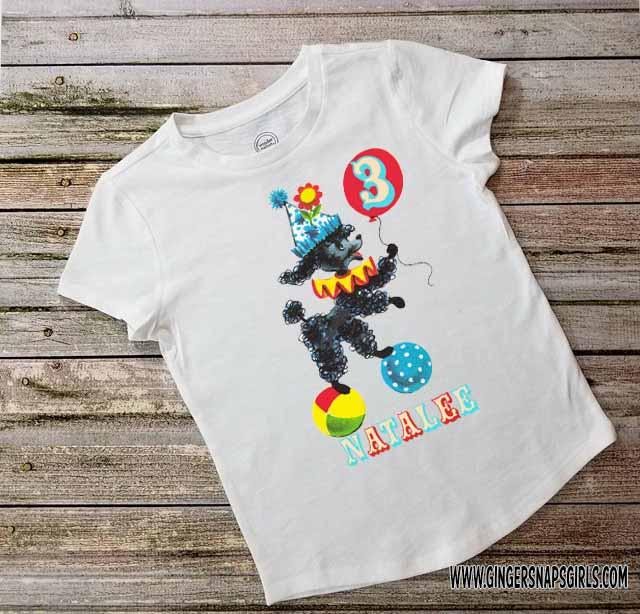 Circus Black Poodle Personalized Vintage Kids Birthday Digital Design File for Sublimation, Printing, & More