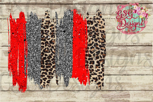 Gray Glitter, Red and Leopard Brush Strokes Frame Digital Design File .png