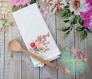 Blessed are Those who do My Dishes Floral Watercolor kitchen Sublimation Transfers