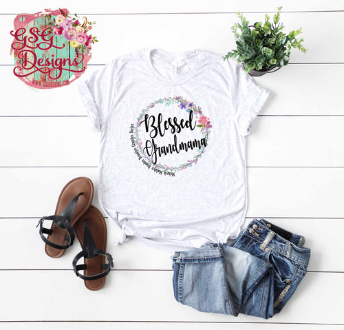 Floral Wreath Blessed GiGi, MeMe, Nana, Nanny, MeMaw, Mom Custom Sublimation Transfers