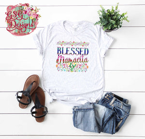 Blessed Mamacita Cactus and Watercolor Flowers Sublimation Transfers