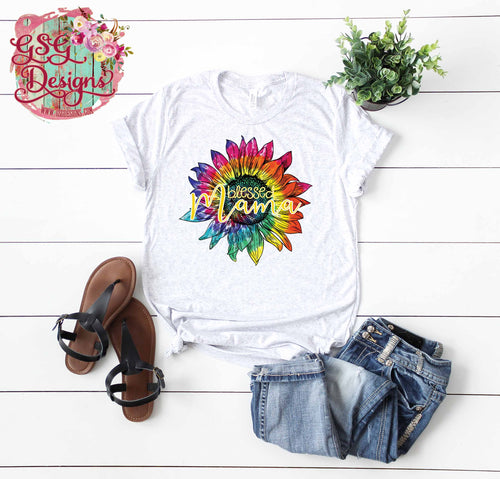 Blessed Mama Tie Dye Sunflower Digital Design File PNG