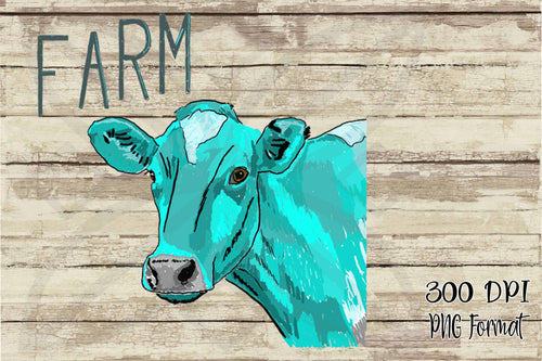 Blue Heifer Cow Sublimation Transfers