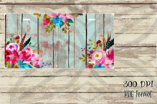 Bleached Wood with Watercolor Flowers Monogram License Plate Sublimation Design File PNG