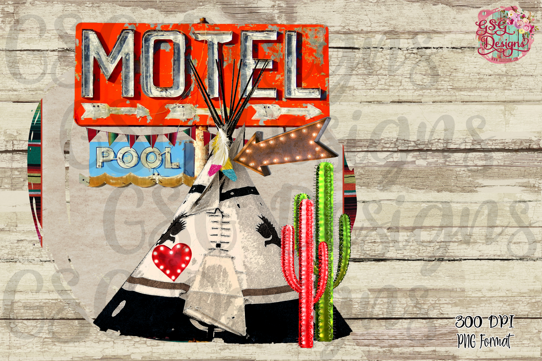 TeePee Motel Boho Digital Design File PNG