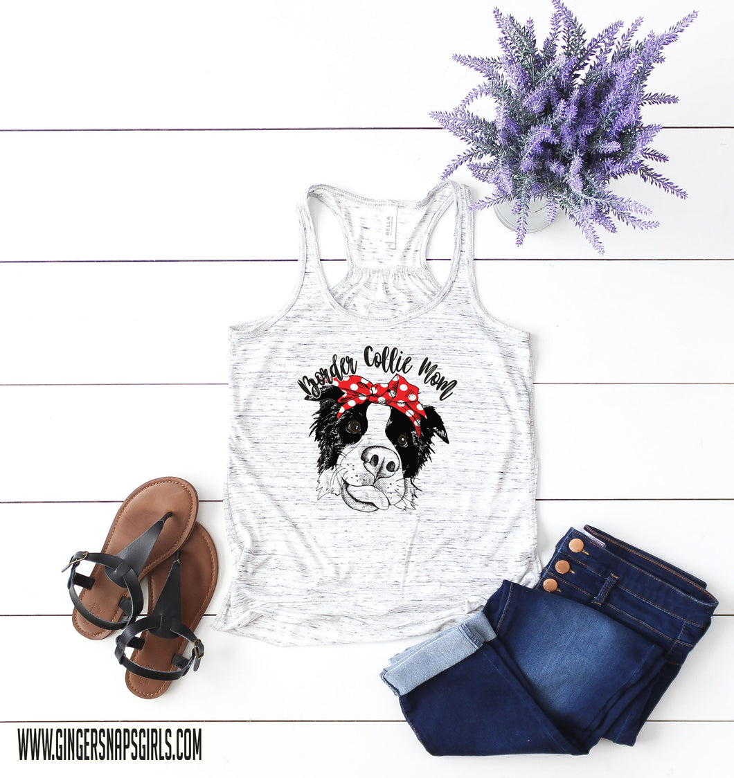 Border Collie Mom, Border Collie in bandanna and glasses Sublimation Transfers