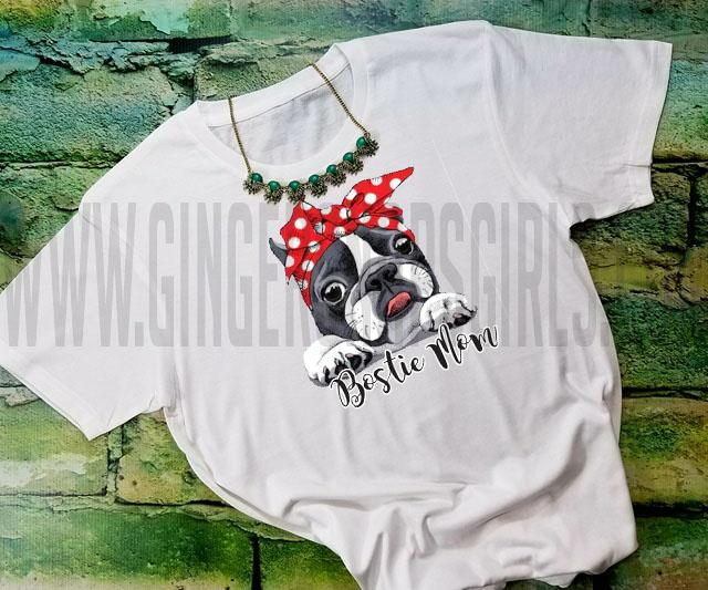 Bostie Mom, Boston Terrier in Red & White Polka Dot Bandanna Sublimation Transfers