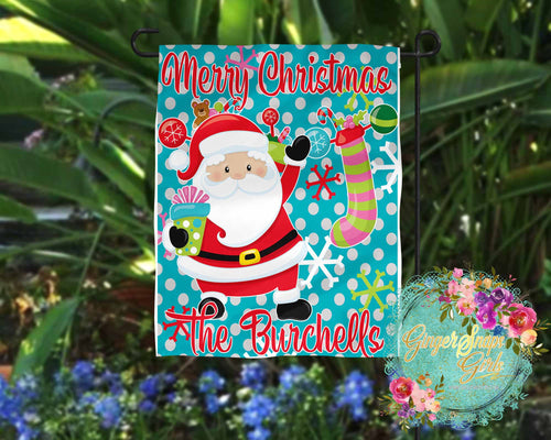 Bright Santa Claus with Snowflakes, Gifts, and Stockings Christmas Digital Design File, PNG