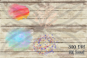 Summer Fun Rose Gold Mini Stars, Red & Blue Confetti, Sunset and Ocean Watercolor Clipart Background for Printing or Sublimation and Design