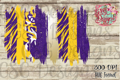 Purple Gold Yellow Tiger Stripe Brush Strokes Frame Digital Design File .png