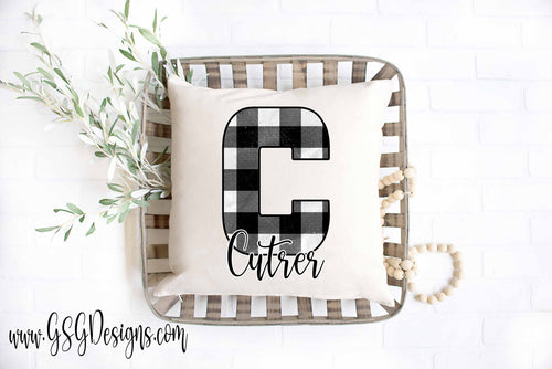Custom Buffalo Plaid Monogram Personalized Sublimation Transfers
