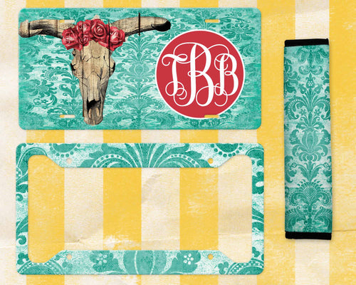 Rose Bull Skull Monogram License Plate Sublimation Transfers
