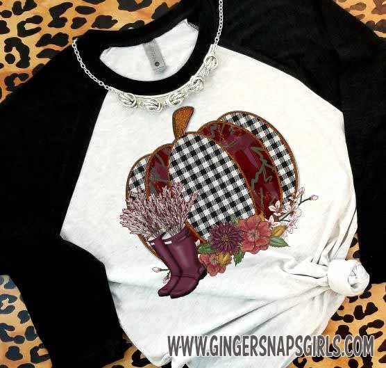 Burgundy Houndstooth Rainboots and Pumpkin Sublimation Transfers