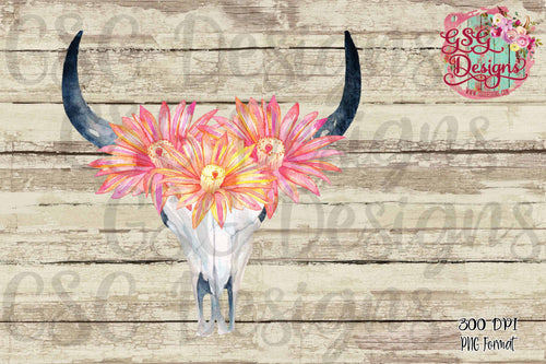 Cactus Flower Bull Skull Sublimation Transfers