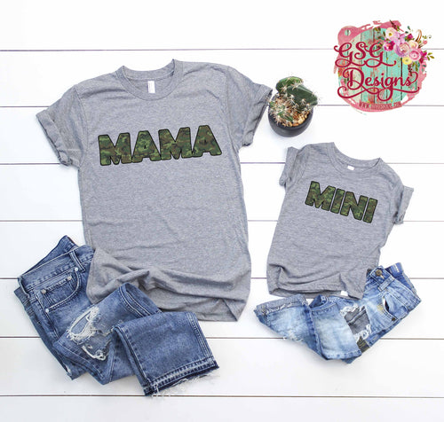 Dad, Mama, and Mini Camouflage Screen Print Transfers RTS Dad & Mini, Mama RTS