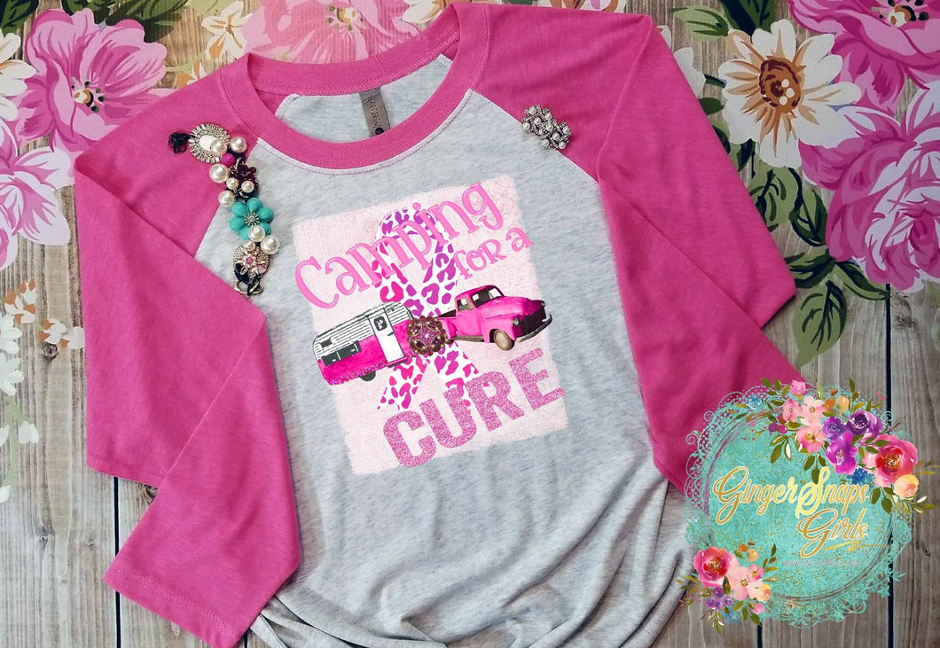 Camping for a Cure Pink Ribbon Inspirational Sublimation Transfers
