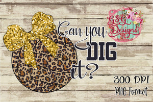Can You Dig It Volleyball Leopard & Glitter Digital Design File PNG