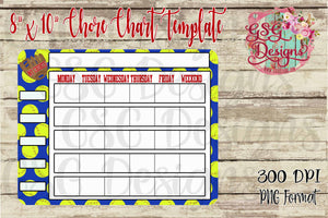 "Softball Kids' Chore Chart 8"" x 10"" Dry Erase Board Sublimation Transfers"