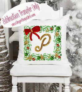 Ornament Personalized Wreath with Monogram Sublimation Transfers