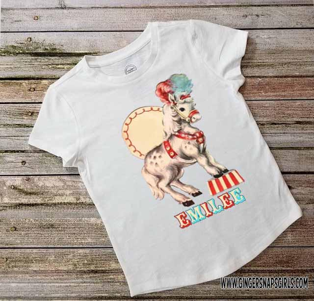 Circus Horse Personalized Vintage Kids Birthday Digital Design File for Sublimation, Printing, & More