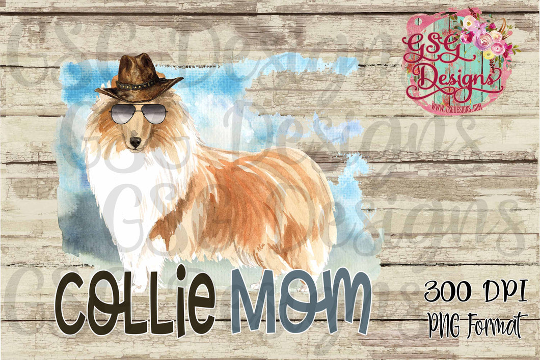 Collie Mom Design male, Dog Mom Digital Design File PNG