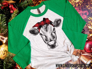 Christmas Heifer in Red Buffalo Plaid Head band Sublimation Transfers