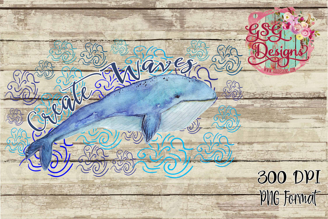 Create Waves Whale Watercolor Digital Design File for Sublimation and Printables