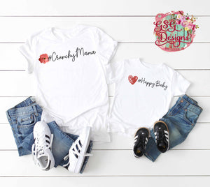 #CrunchyMama and #HappyBaby Digital Design File Set, Sublimation Design File PNG