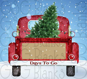 Christmas Countdown Antique Red Truck in Snow Digital Design File
