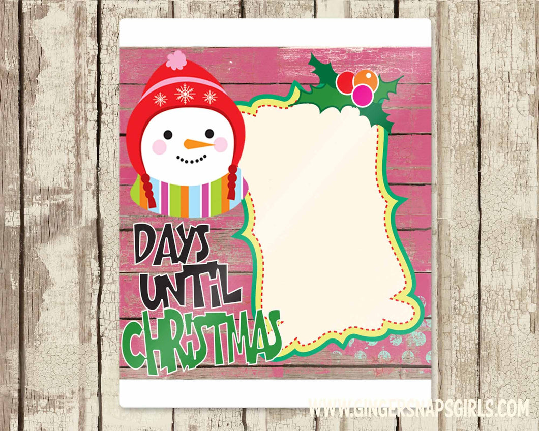 Christmas Countdown Snowman Pink Holly Digital Design File