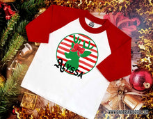 Load image into Gallery viewer, Boy & Girl Reindeer Personalized Circles Sublimation Transfers