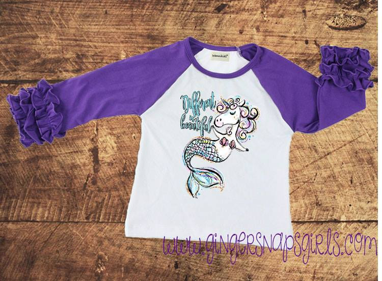 Different is Beautiful Glitter Unicorn Mermaid Printable and Sublimation Digital Design File