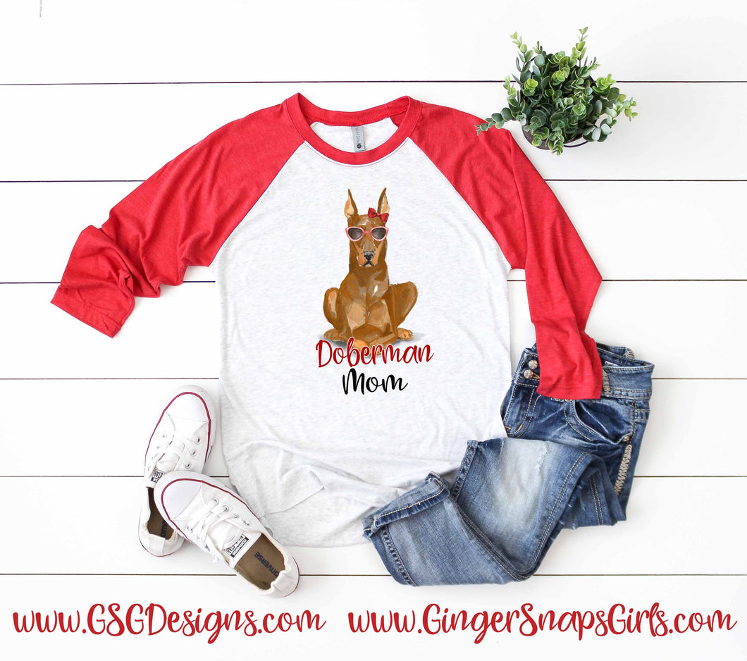 Watercolor Doberman Mom Red Digital Design File PNG