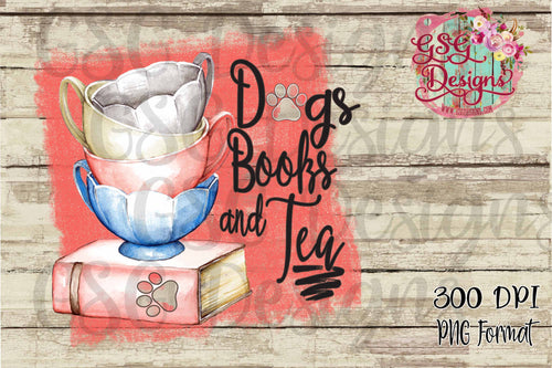 Dogs Books and Tea Watercolor Sublimation Transfers