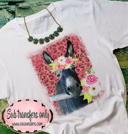 Donkey in Floral Crown Sublimation Transfers
